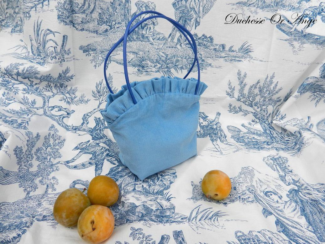 Doaa 1 a sac fille velours bleu blue velvet girl bag