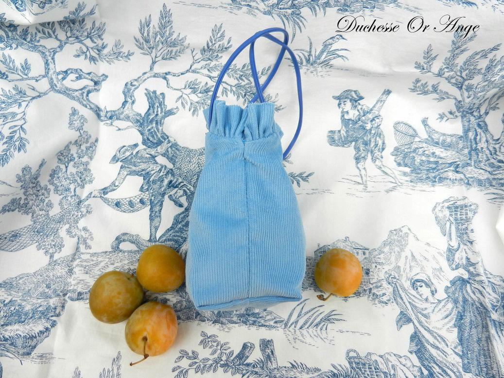 Doaa 1 b sac fille velours bleu blue velvet girl bag