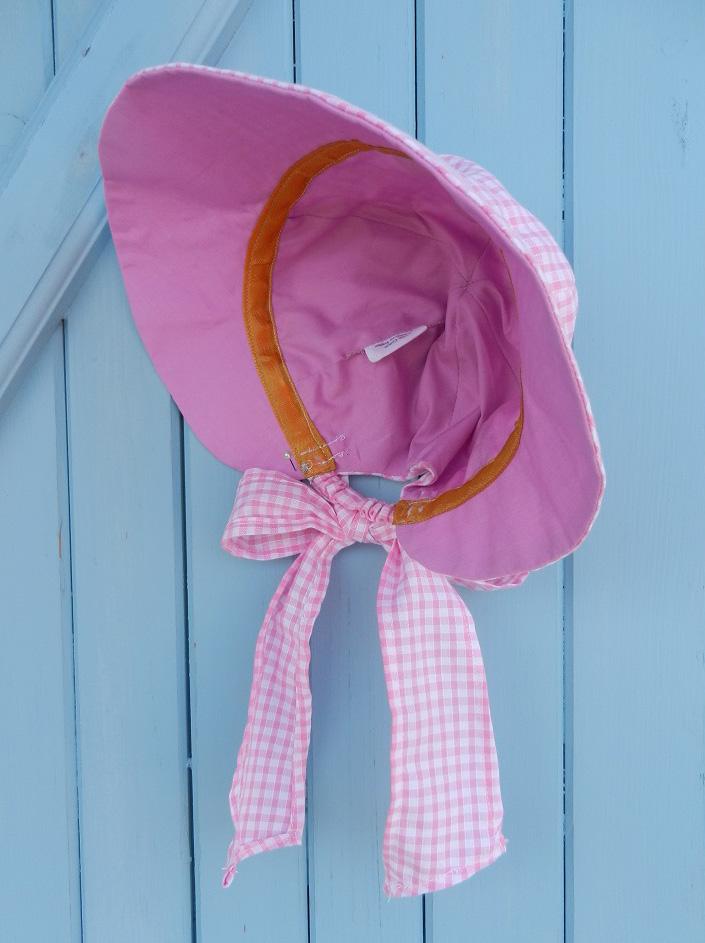 Doaa 14 c duchesse or ange chapeau casquette bebe noeud vichy rose blanc