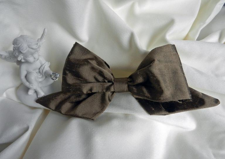 Brown silk hair bow on pin