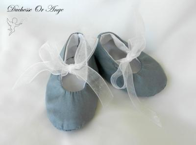 Baby shoes in grey cotton - 1/3 months
