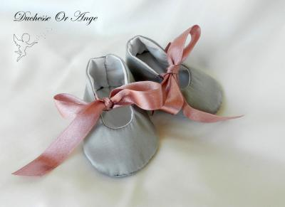 Baby shoes in grey satin - 1/3 months