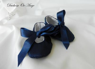 Baby shoes in navy blue satin - 1/3 months