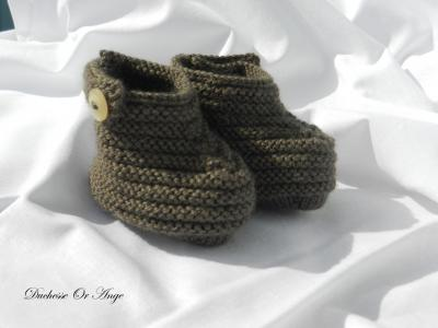 Brown baby booties 1/3 months