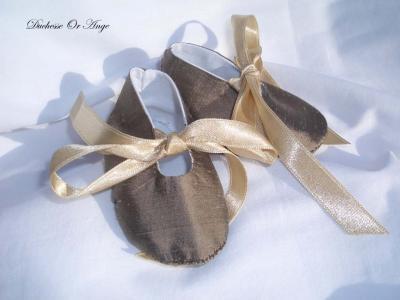 Chaussures bébé en soie marron - 1/3 mois