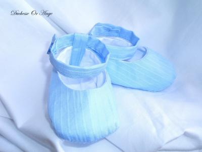 Baby shoes in blue cotton - 1/3 months