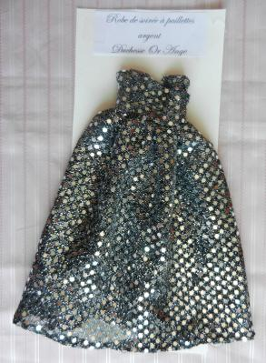 Doll outfit: black and silver glitter gown