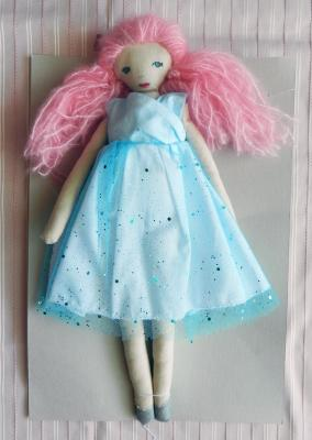 Pink hair fabric doll with blue glittering dress