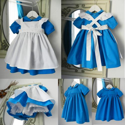Duchesse or ange 190 robe bleue alice tablier blanc jupon blue dress white apron petticoat i