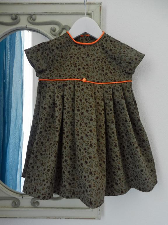 Dark green cotton dress with orange piping - 2 years old
