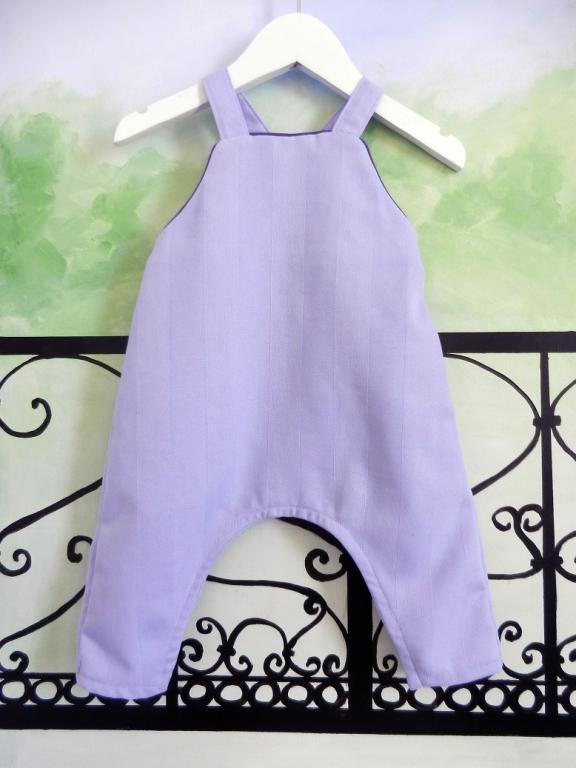 Salopette bébé bleu ciel en tissu effet rayures - 12 mois