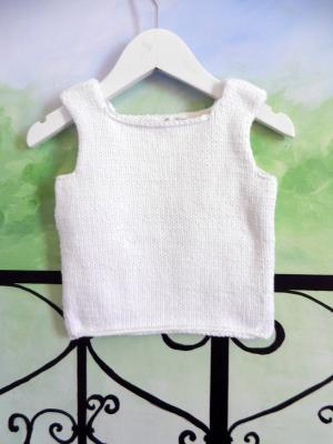 Top sans manches en tricot blanc - 12 mois