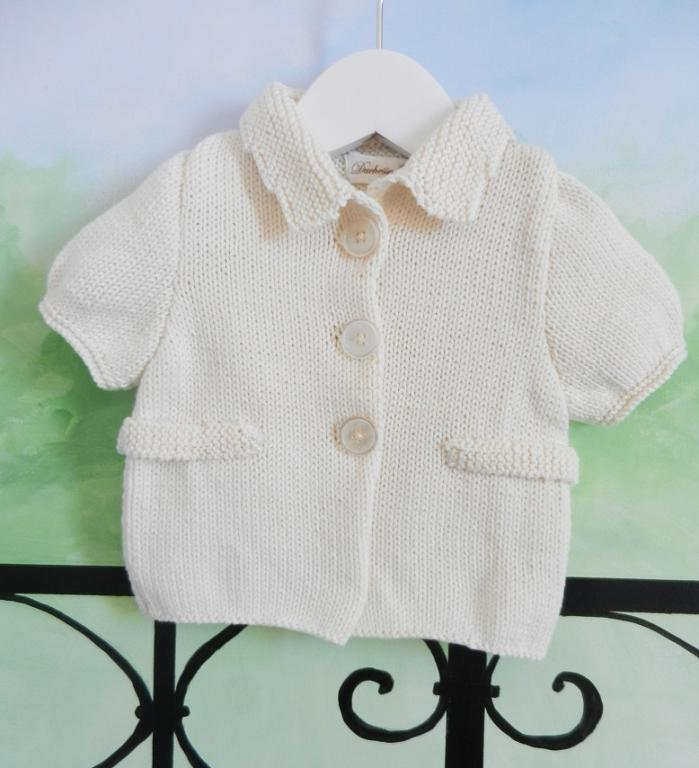 Knit cream cotton jacket with short sleeves - 12 months old