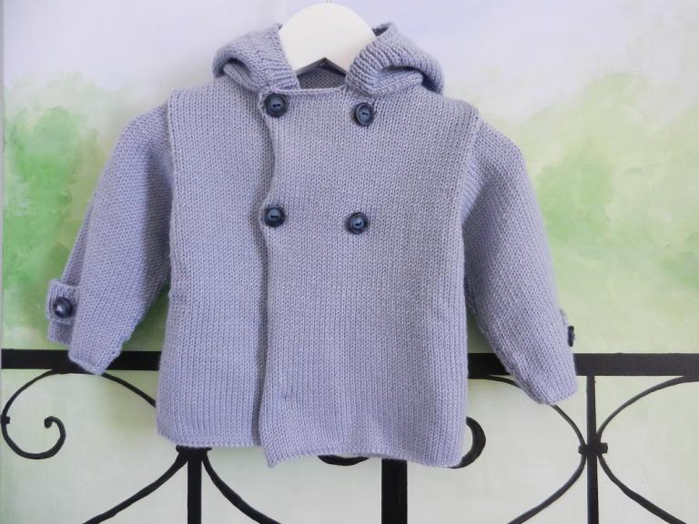 Light blue wool hooded jacket - 12 months old