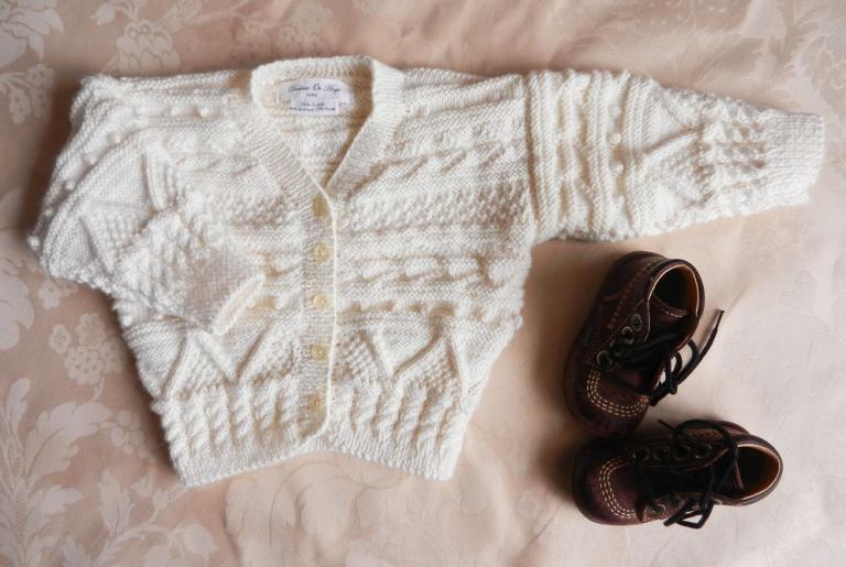 Gilet en tricot écru de style irlandais - 12 mois