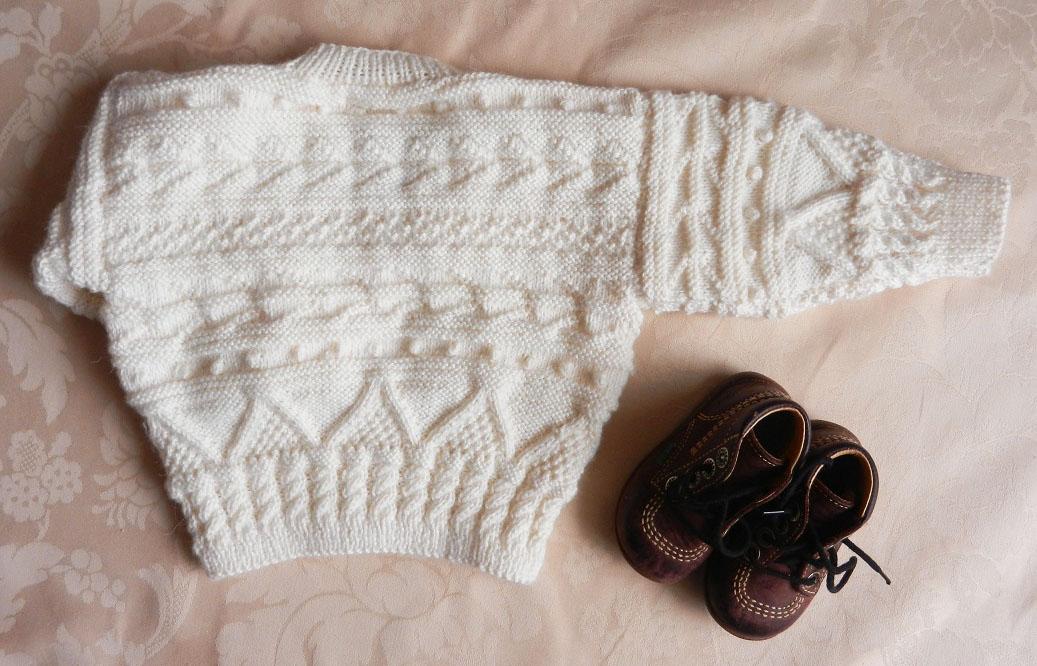 Duchesse or ange 234 b gilet irlandais bebe alpaga ecru 12 mois