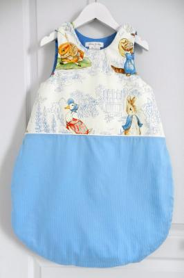 Baby sleeping bag in Beatrix Potter cotton fabric - 6 / 12 months old