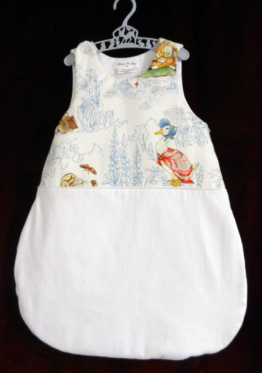 Baby sleeping bag in Beatrix Potter cotton fabric - 3 / 6 months old