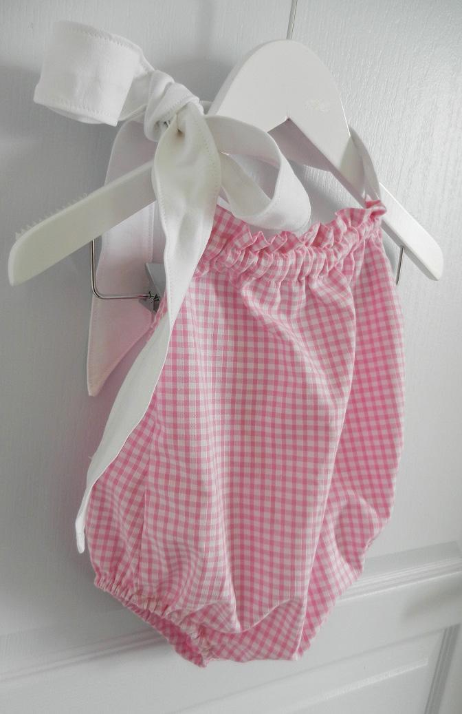 Duchesse or ange 241 b maillot de bain bebe enfant fille fillette rose vichy noeud blanc