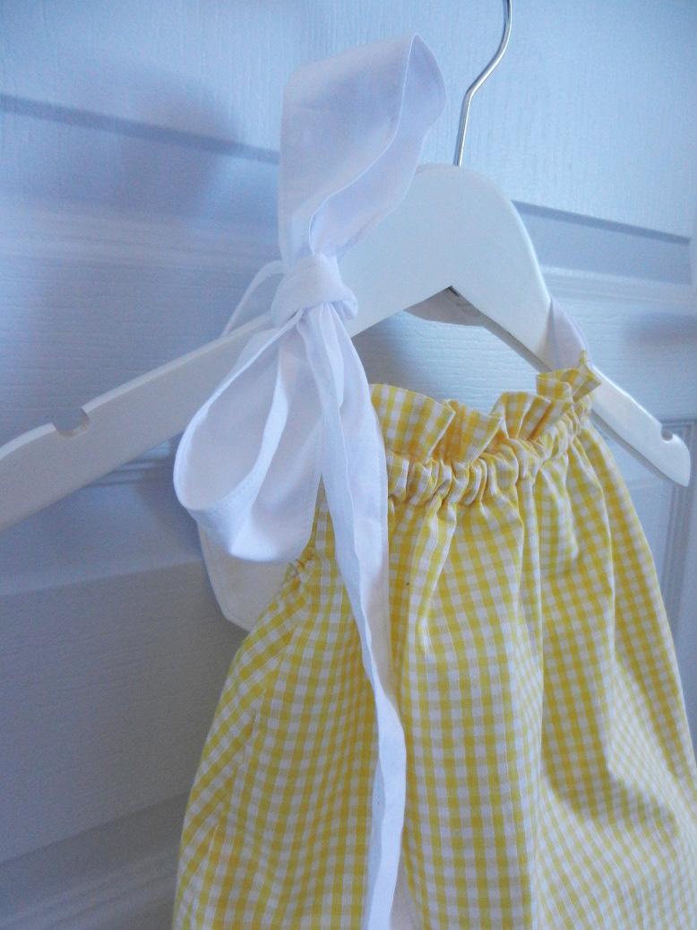 Duchesse or ange 244 b maillot de bain bebe enfant fille fillette vichy jaune coton noeud blanc