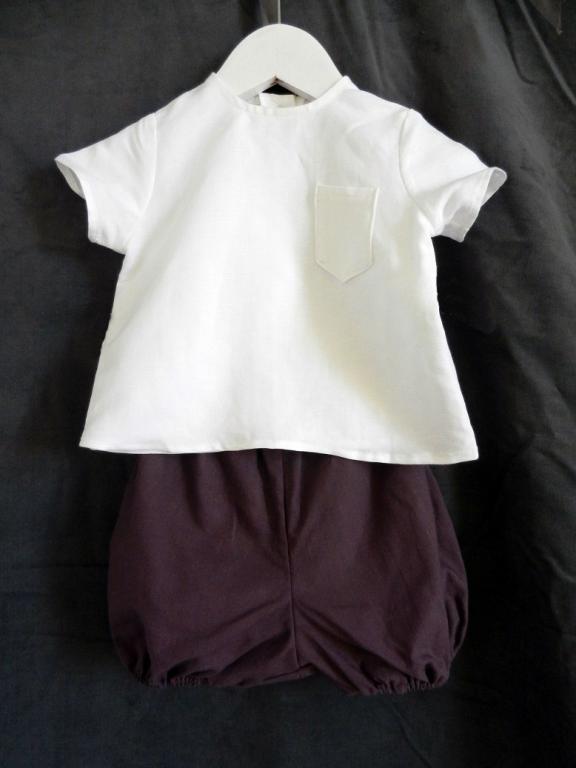 Ensemble bébé: chemise en lin blanc et bloomer bordeaux - 12 mois