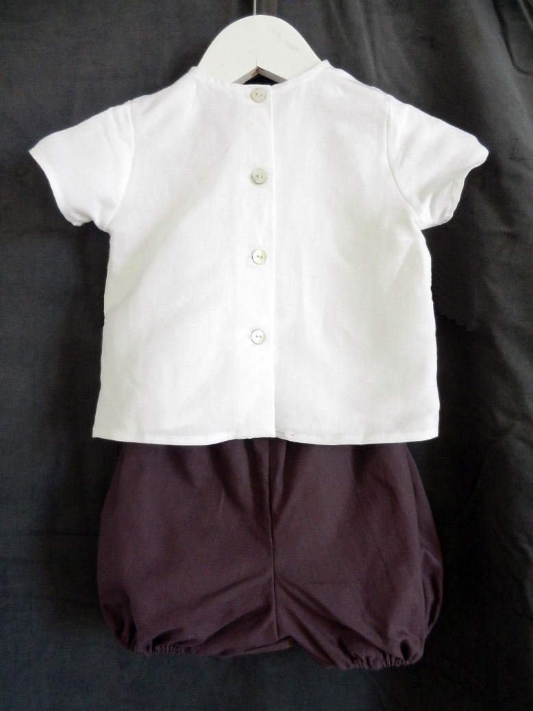 Duchesse or ange 248 b ensemble bebe chemise lin blanc bloomer bordeaux 12 mois baby white linent top and bloomer