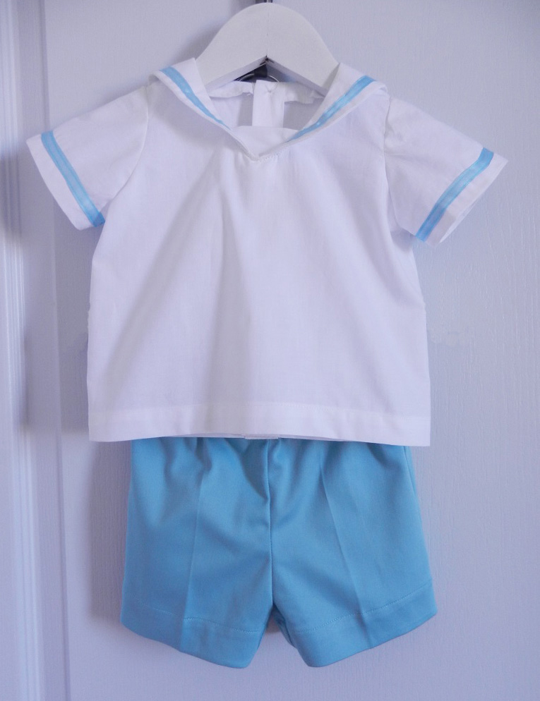 Duchesse or ange 250 a ensemble bebe mariniere short blanc bleu baby top and shorts whit blue