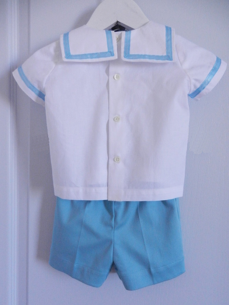 Duchesse or ange 250 b ensemble bebe mariniere short blanc bleu baby top and shorts whit blue