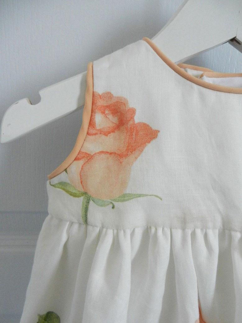 Duchesse or ange 251 b robe bebe voile de lin roses blanche orange baby dress linen white orange roses