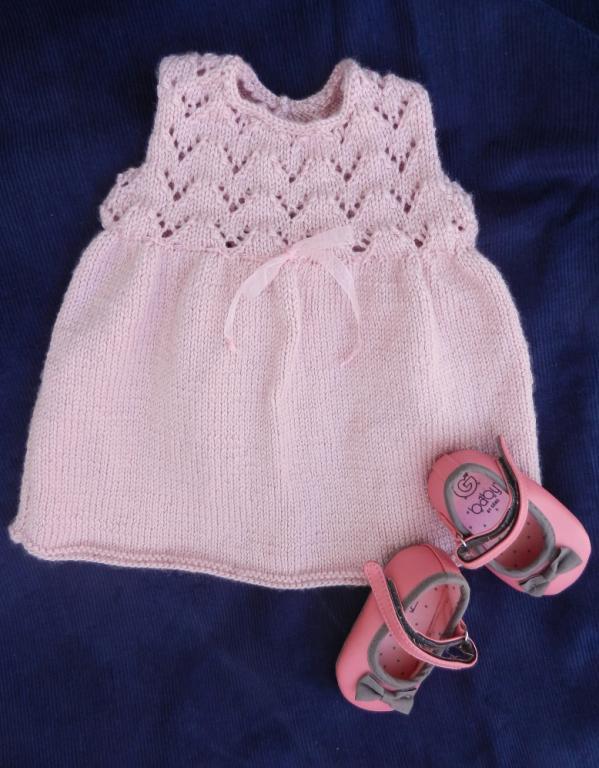 Robe sans manches en tricot vieux rose - 6 mois