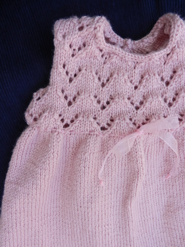 Duchesse or ange 252 b robe bebe tricot rose baby knitt dress pink