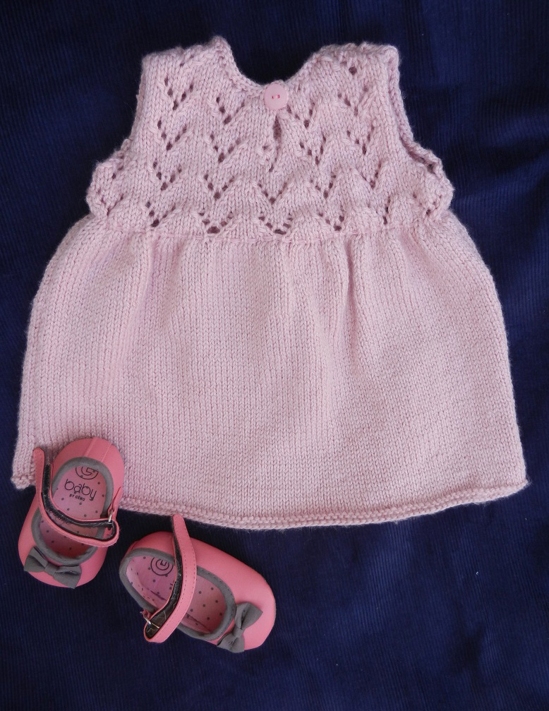 Duchesse or ange 252 c robe bebe tricot rose baby knitt dress pink 1