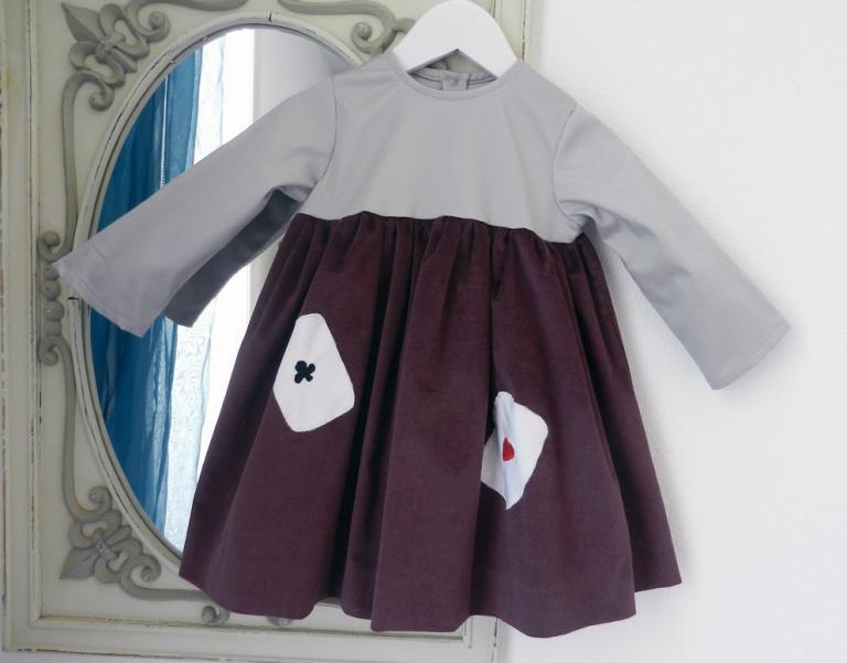 Plum velvet long sleeves dress with grey satin cotton yoke - 2 year old