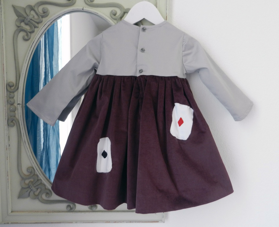 Duchesse or ange 253 e robe bebe velours grenat satin de coton gris cartes baby dress velvet purple grey