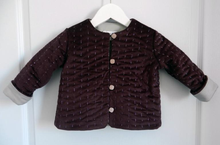 Padded plum velvet jacket lined in grey satin cotton - 2 years old