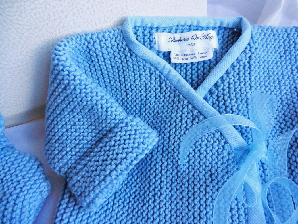 Duchesse or ange 255 b cache coeur tricot bleu bebe kit naissance birth set baby wool blue