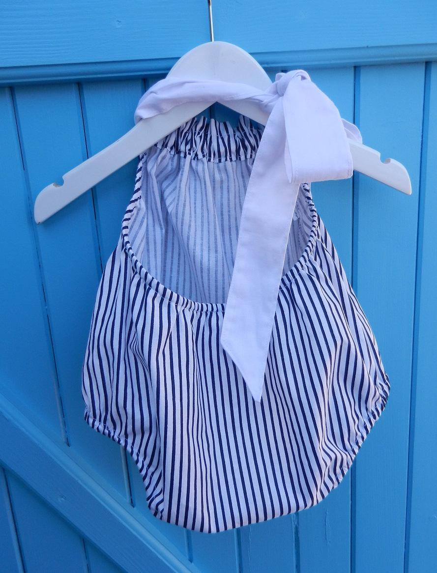 Duchesse or ange 260 c maillot de bain bebe enfant fille fillette raures marine blanche coton noeud blanc