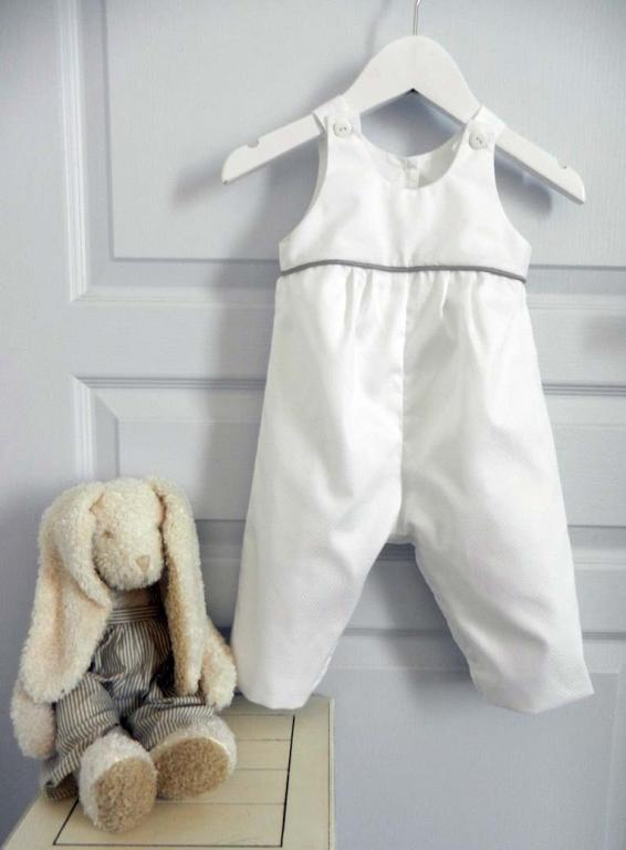 White cotton overalls with light grey piping