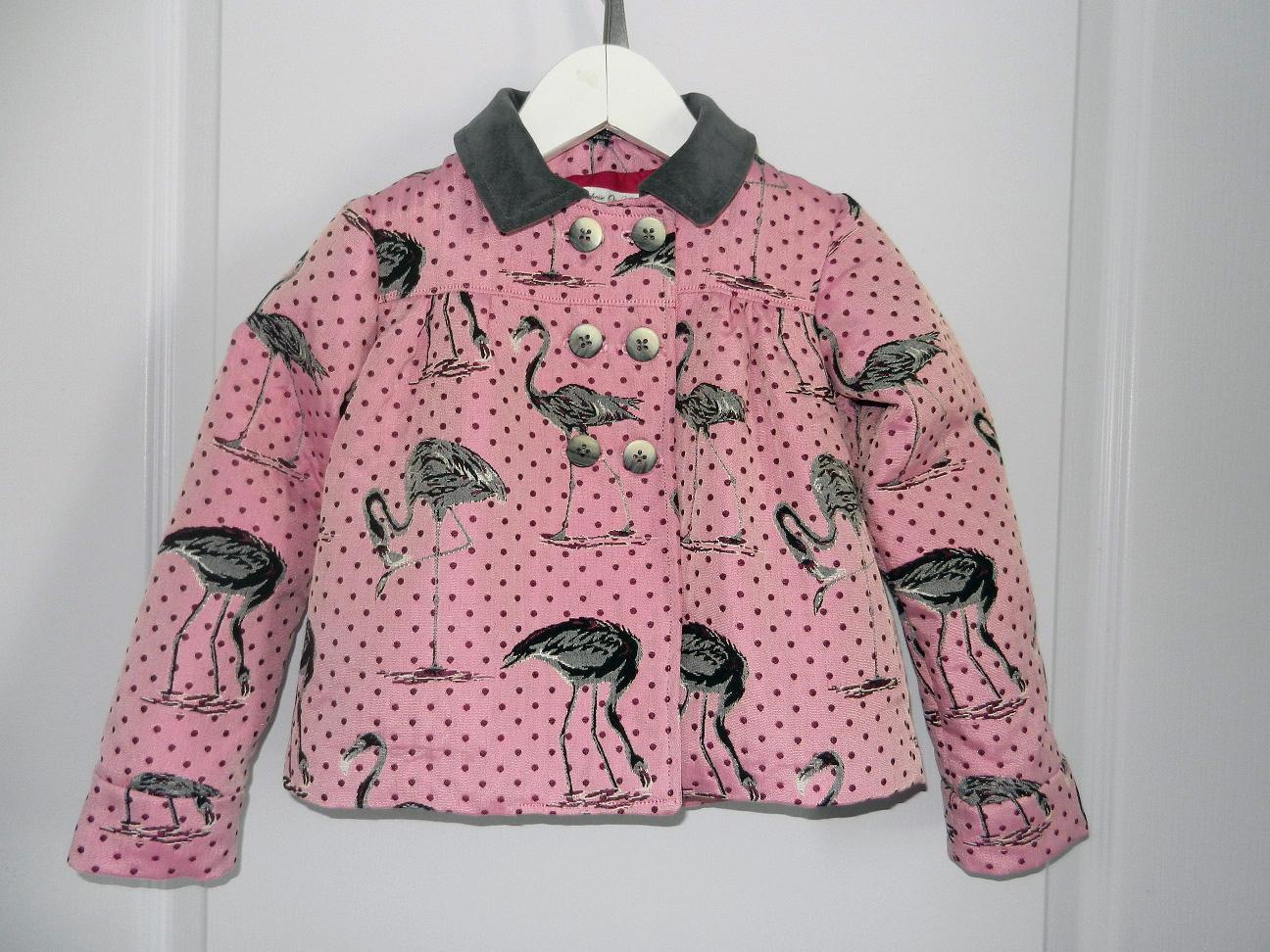 Duchesse or ange 263 veste flamands roses col velours gris pink flamingo jacket grey velvet collar a