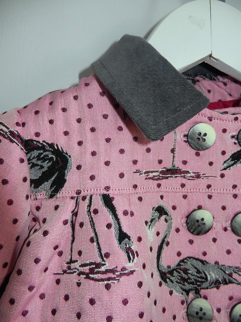 Duchesse or ange 263 veste flamands roses col velours gris pink flamingo jacket grey velvet collar c
