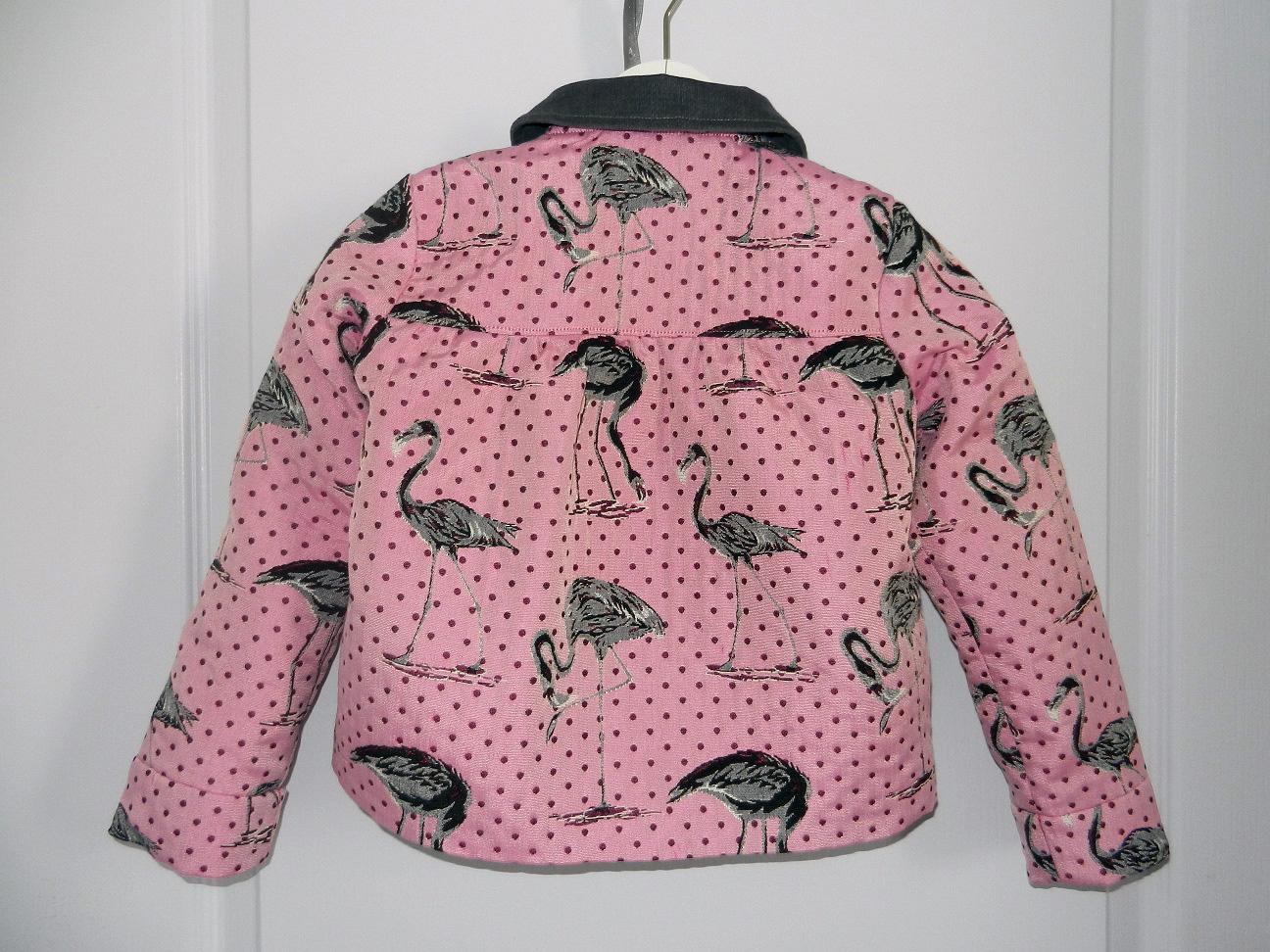 Duchesse or ange 263 veste flamands roses col velours gris pink flamingo jacket grey velvet collar d