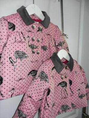 Veste fille en imprimé flamants roses doublée en coton
