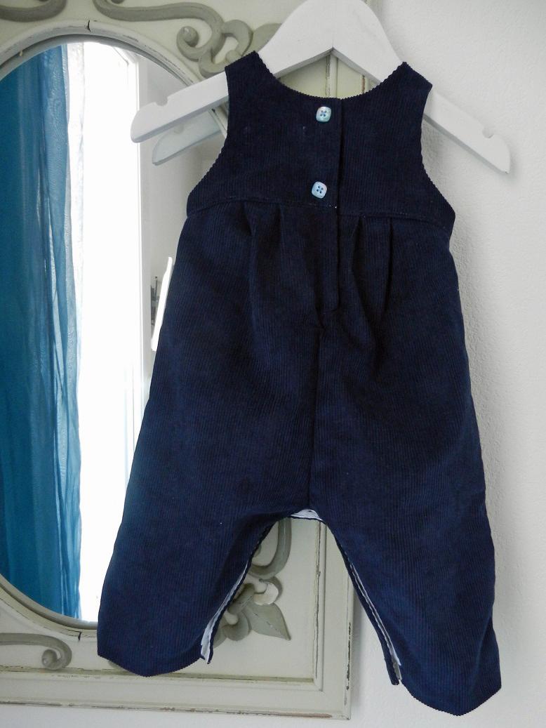 Duchesse or ange 264 salopette velours bleu marine bebe dark blue navy baby overalls velvet c