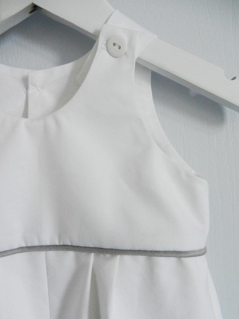 Duchesse or ange doa 261 c salopette coton blanc passepoil gris