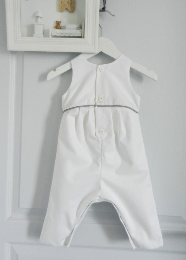 Duchesse or ange doa 261 d salopette coton blanc passepoil gris