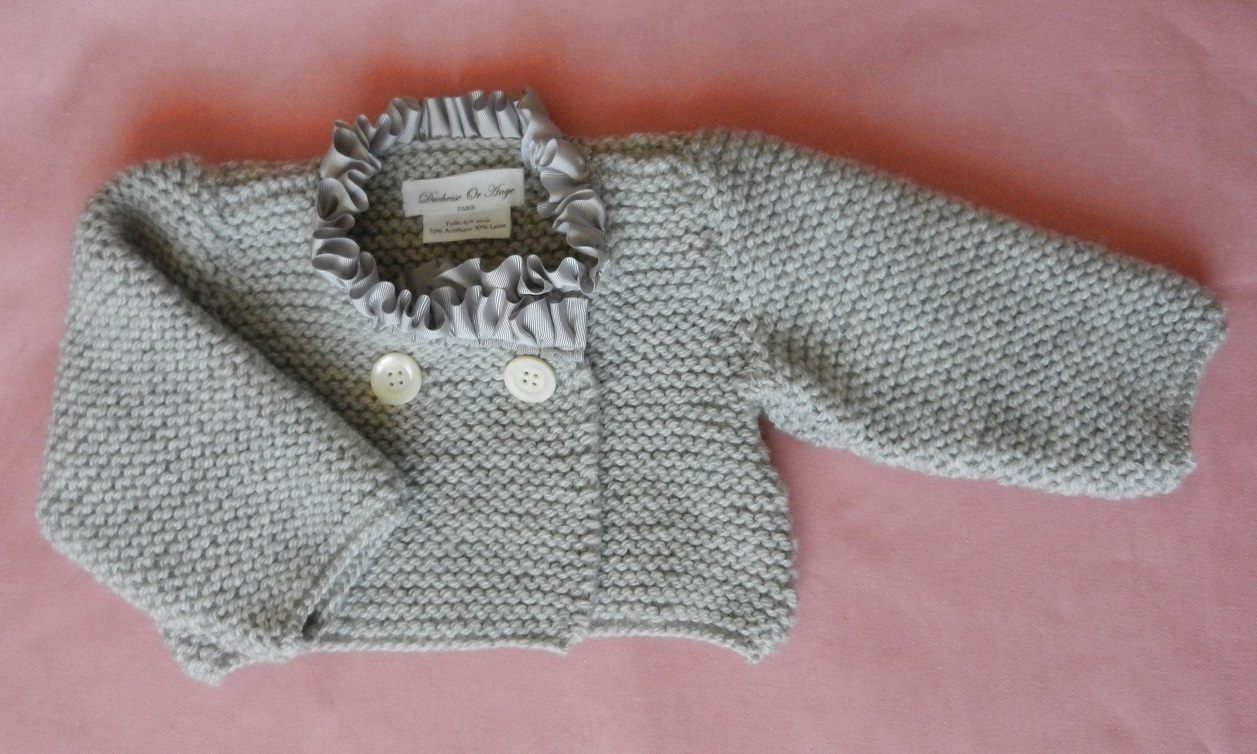 Duchesse or ange doa 273 gilet bebe tricot gris col satin gris grey baby cardigan grey satin collar a