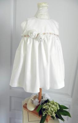 Christening or ceremony white satin cotton dress decorated with white fabric roses