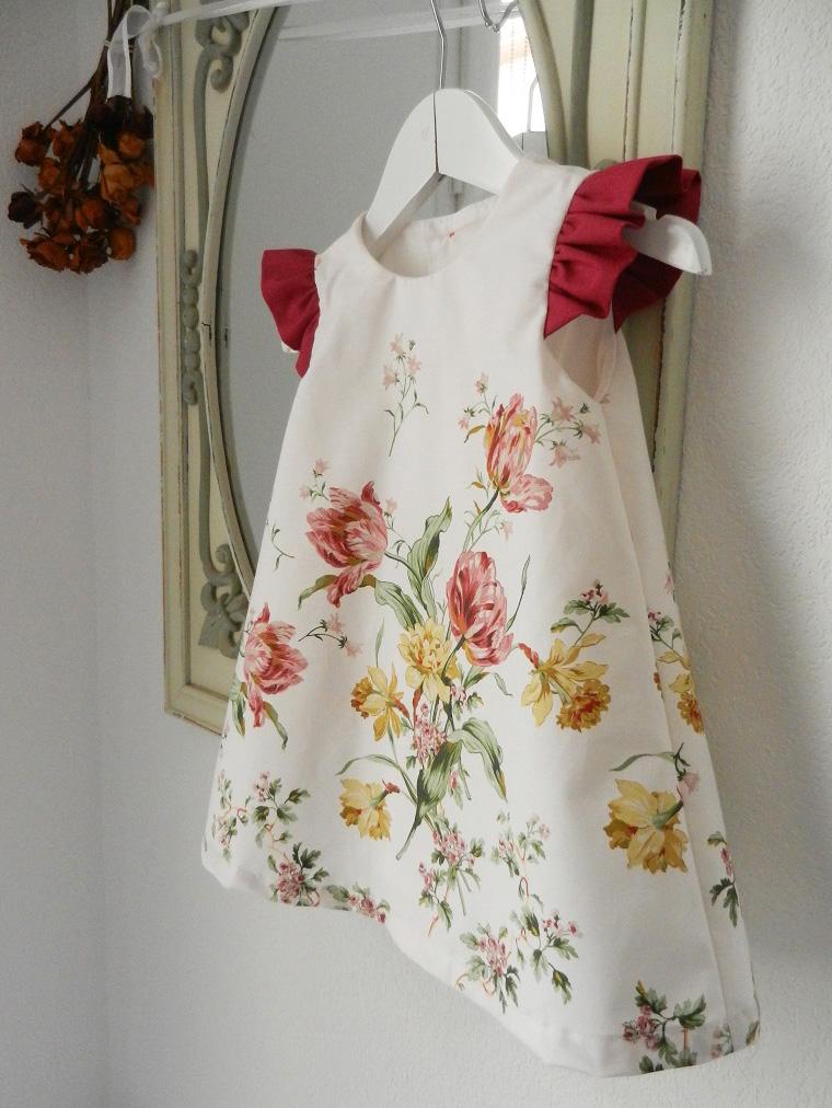 Duchesse or ange doa 275 robe trapeze fleurs fronces rose fushia flower dress gathered sleeves b