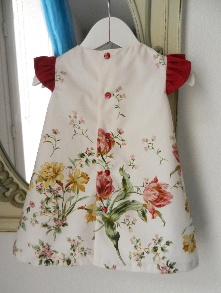Duchesse or ange doa 275 robe trapeze fleurs fronces rose fushia flower dress gathered sleeves d