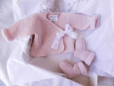 Birth gift box: powder pink knit wrap top and booties - birth/ 1 month old
